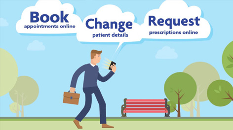 Book appointment online, change patient details, request prescriptions online